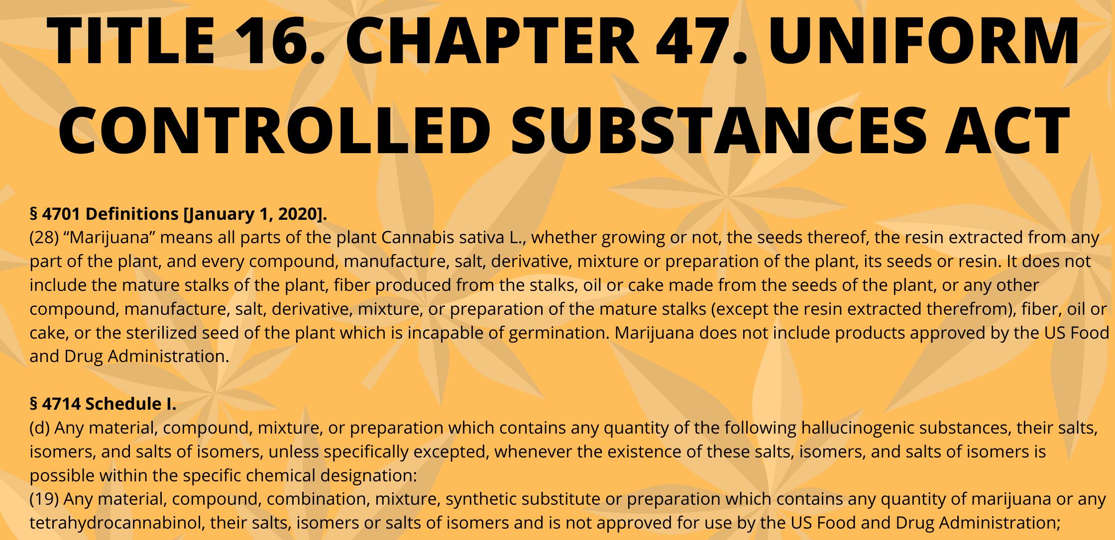 TITLE 16. CHAPTER 47. UNIFORM CONTROLLED SUBSTANCES ACT