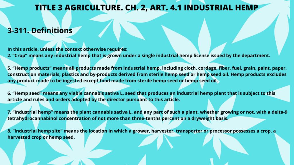 TITLE 3 AGRICULTURE. CH. 2, ART. 4.1 INDUSTRIAL HEMP